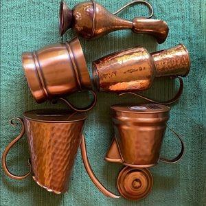 5 pc Copper decorative vases,mug,tea pot, watercan